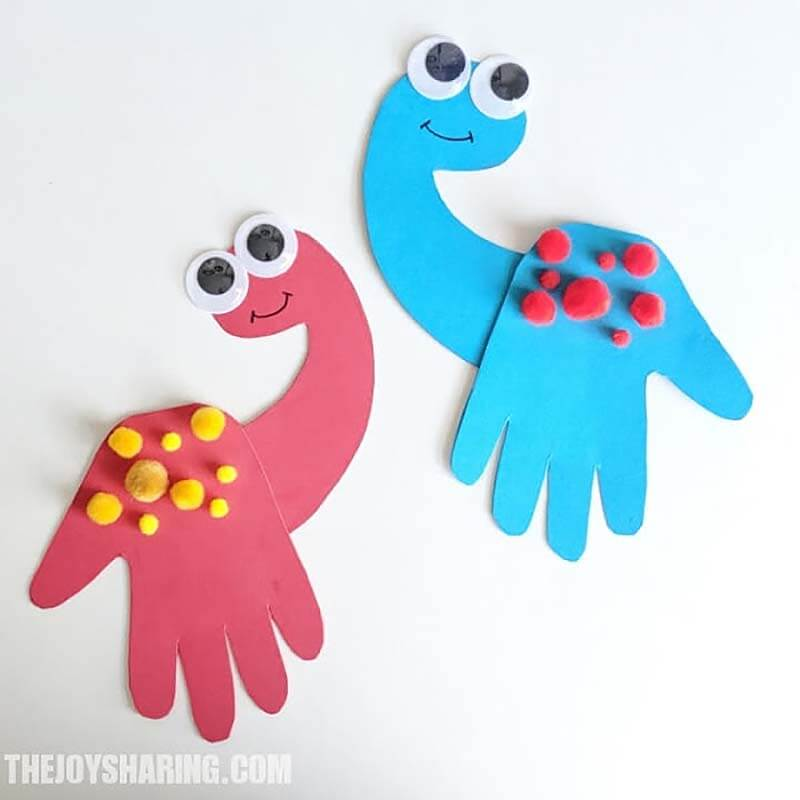 Handprint dinosaur crafts for kids