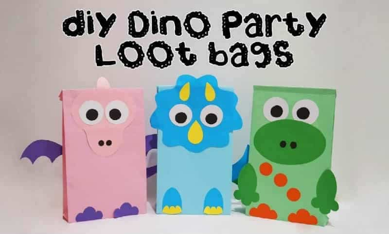 Dino party loot bags DIY craft