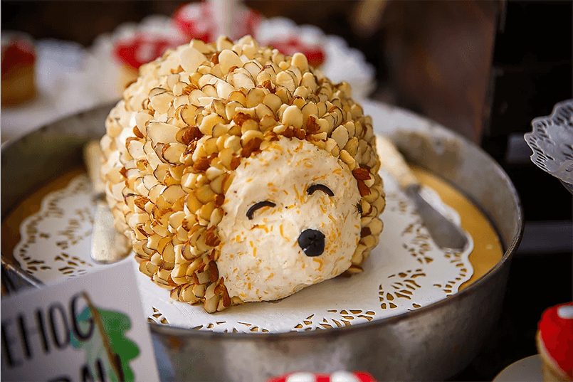 Hedgehog cheeseball on plate