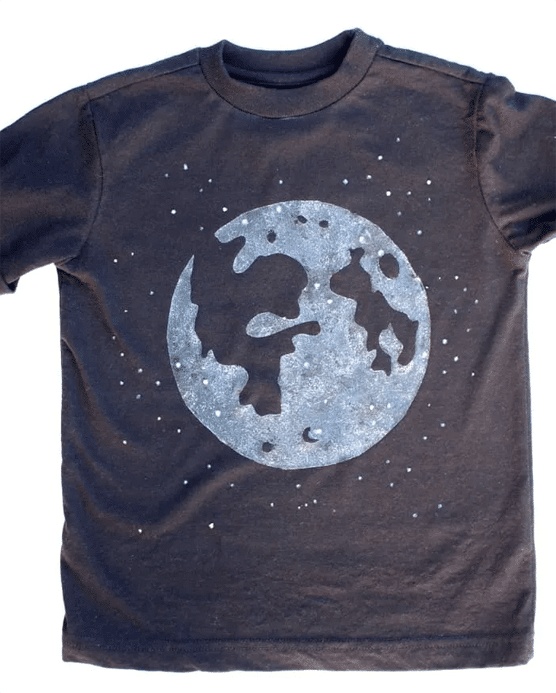 Black shirt with glow in the dark painted moon graphic - space crafts for kids