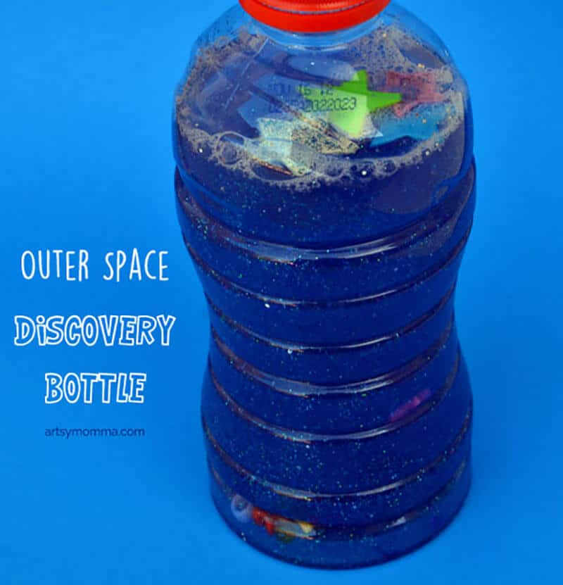 Outer space sensory bottle space craft for kids