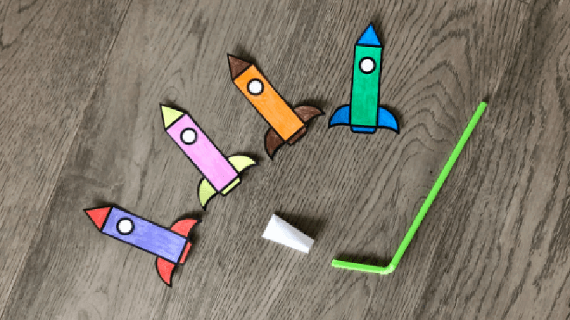 Straw rockets for kids