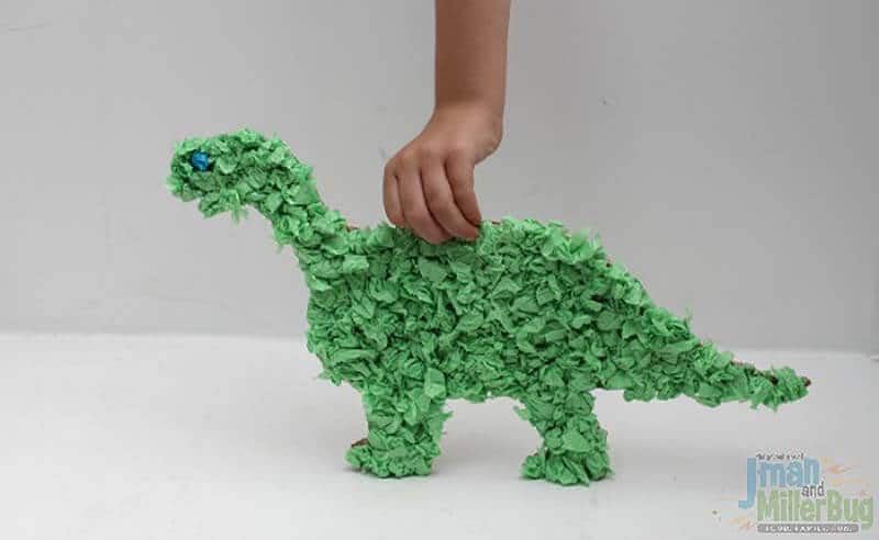 Tissue paper decorated dinosaur for kids