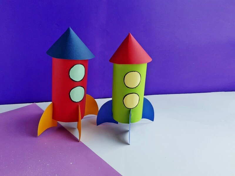 Colorful toilet paper rockets for kids