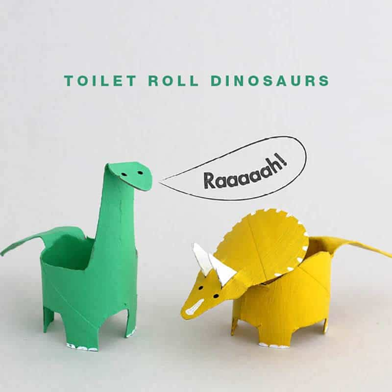 Toilet paper dinosaur crafts for kids