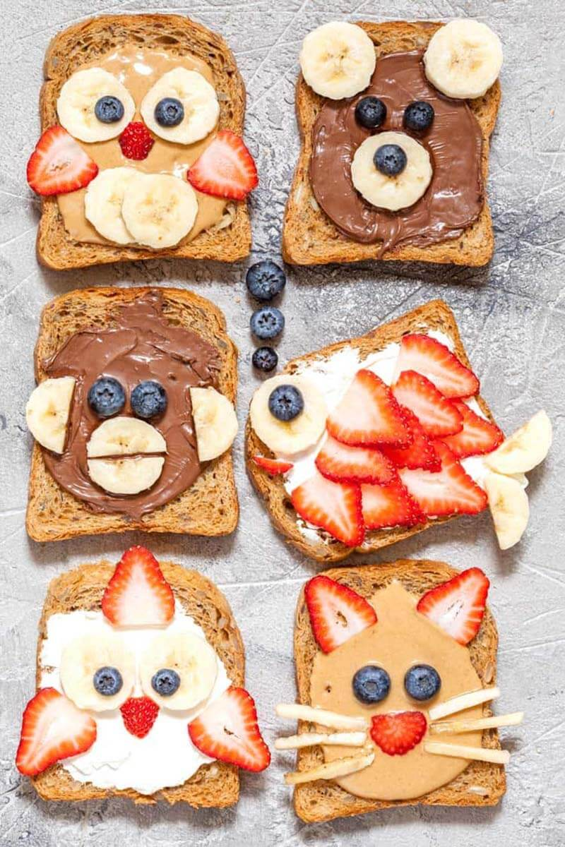 Animal toasts with fun fruit and nut butter details