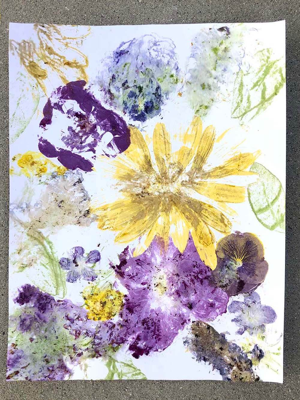 Finished flower print created by hammered nature art