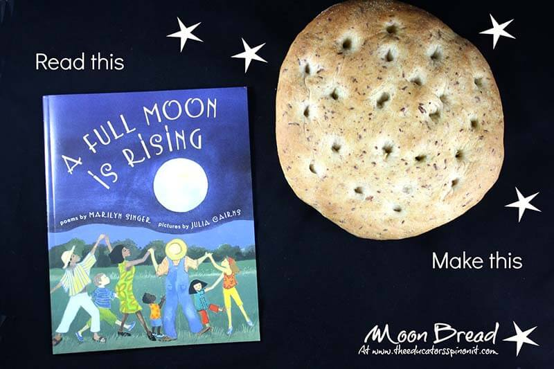 Loaf of moon bread with book