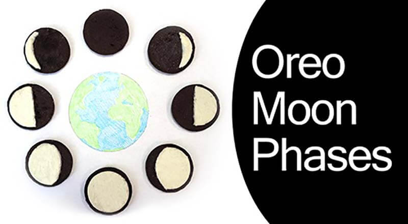 Oreos set up in the phases of the moon