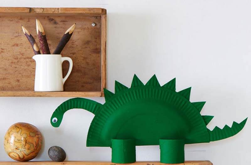 Dinosaur made from paper plates fun kids craft