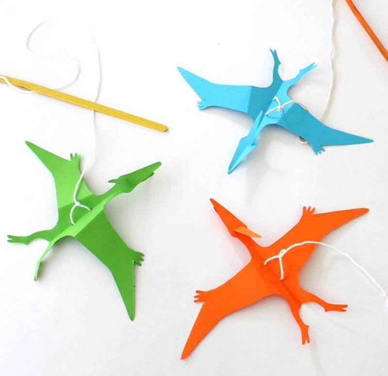 Flying paper Pterodactyl puppets kids craft
