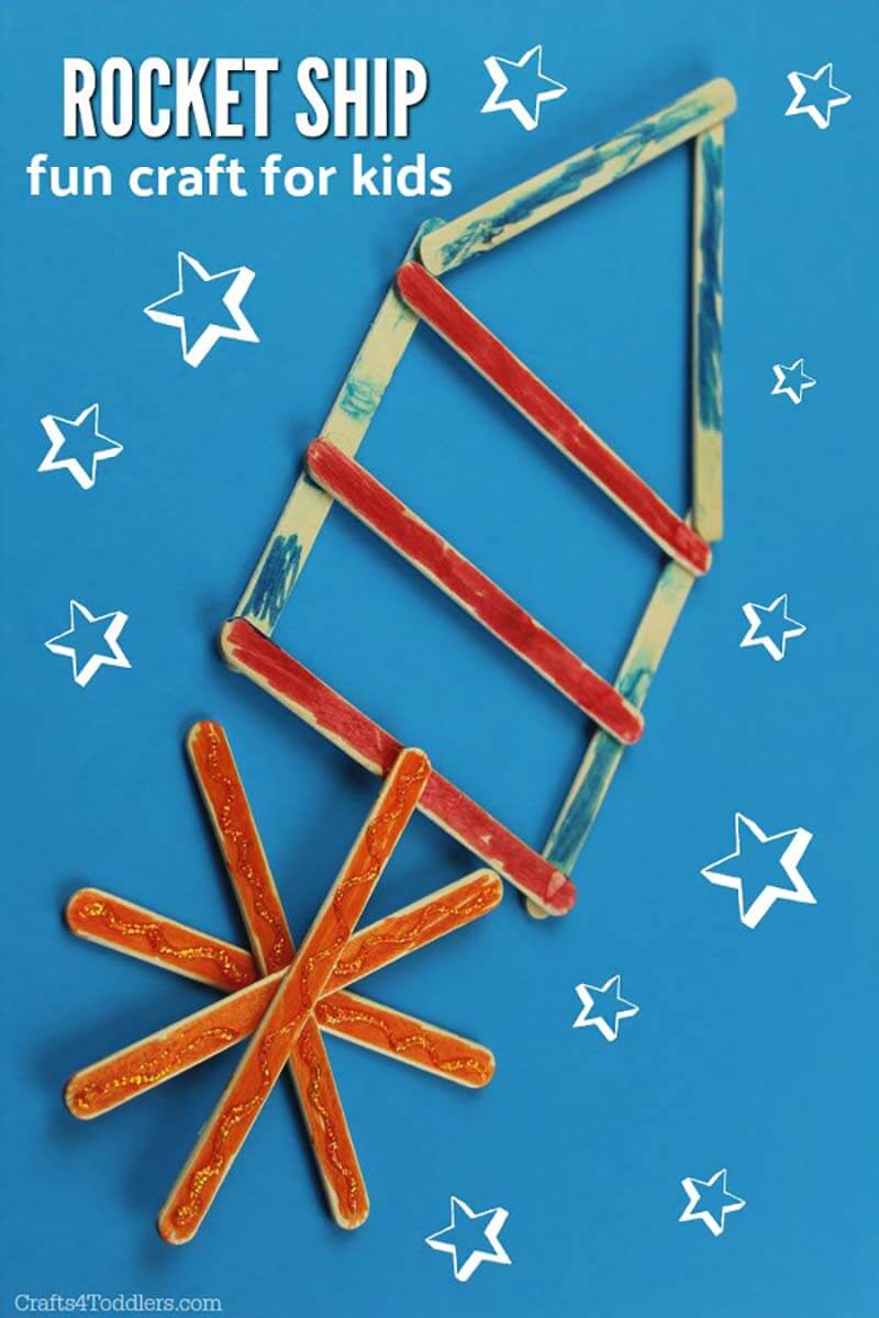 Popsicle stick rocket space craft for kids