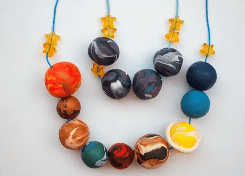Clay jewelry space crafts for kids