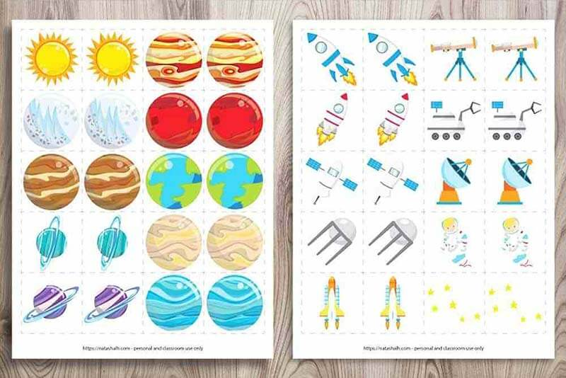 Space matching activity for kids