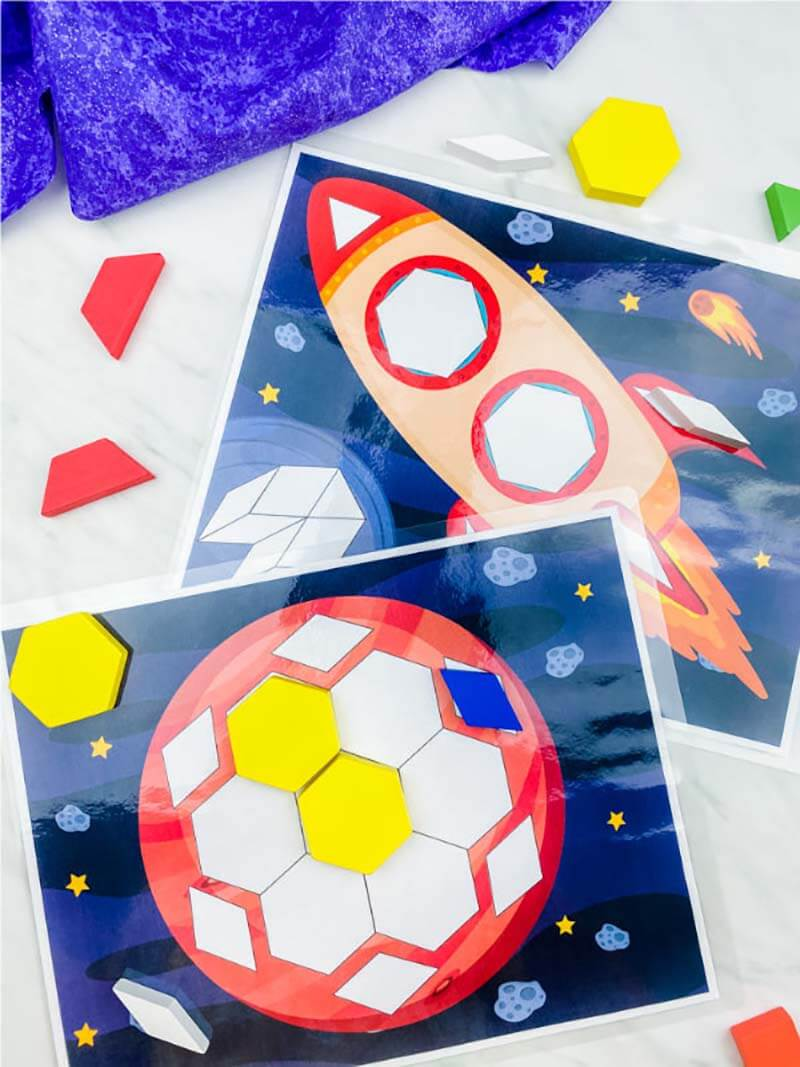 Space shape matching activity for kids