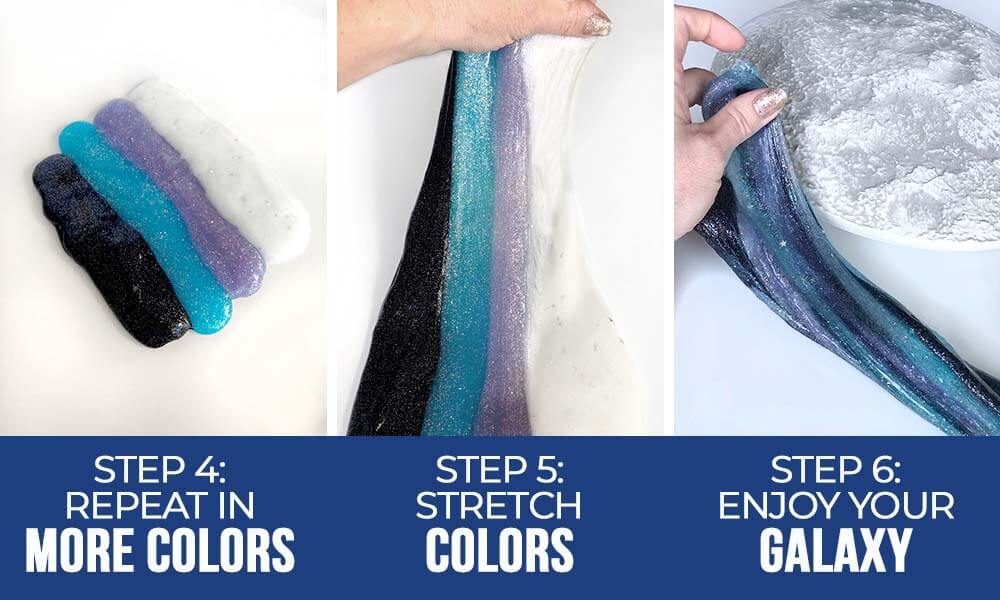 How to instructions for Making galaxy slime