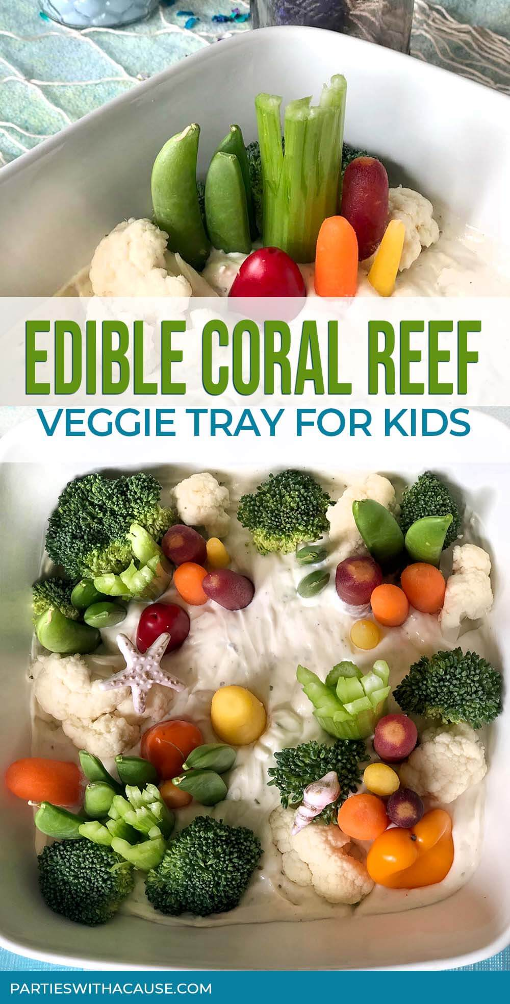 Edible coral reef veggies tray for kids by Salt Lake party stylist