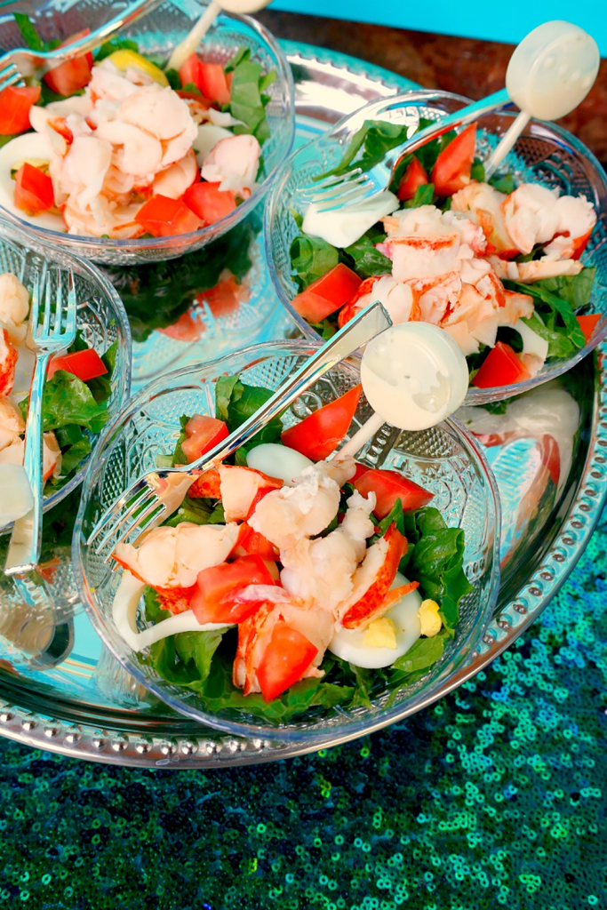 Lobster salad with dressing pipette