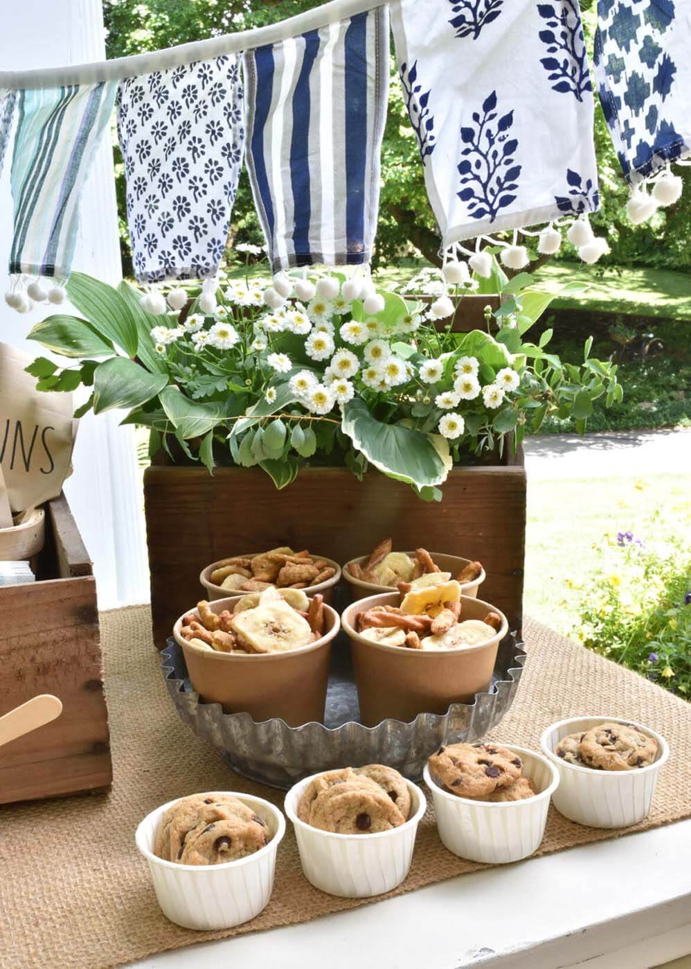 Snacks in cups for safe social distancing bbq