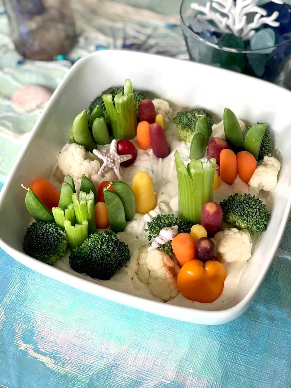 Creative veggie tray that looks like a coral reef