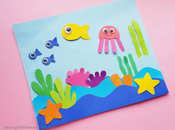 Paper crafted ocean life scene
