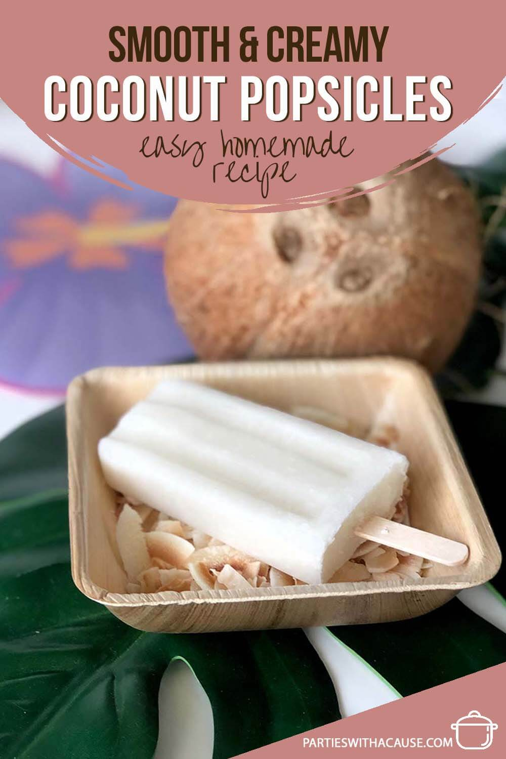 frozen coconut treat on bed of toasted coconut