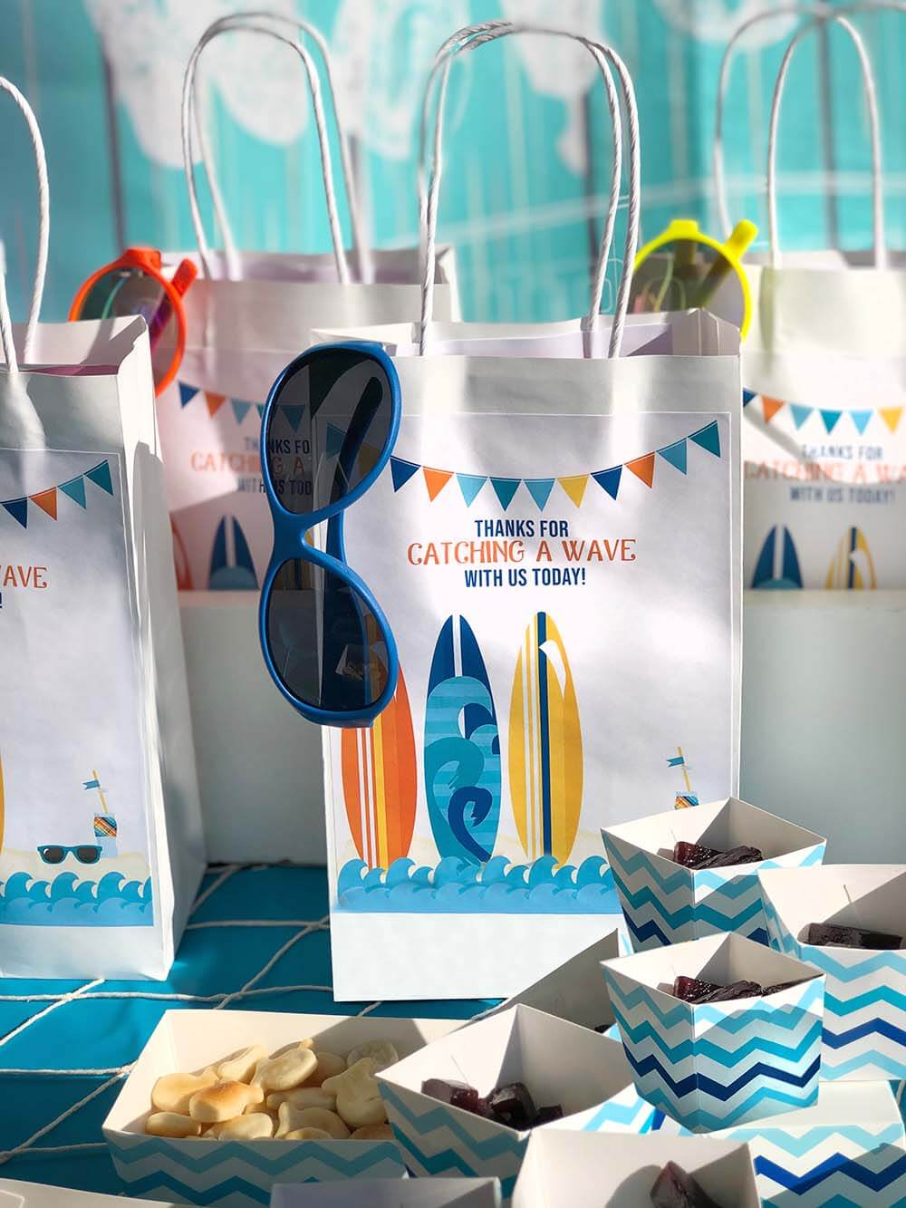 Thanks for catching a wave with us surf party favor ideas