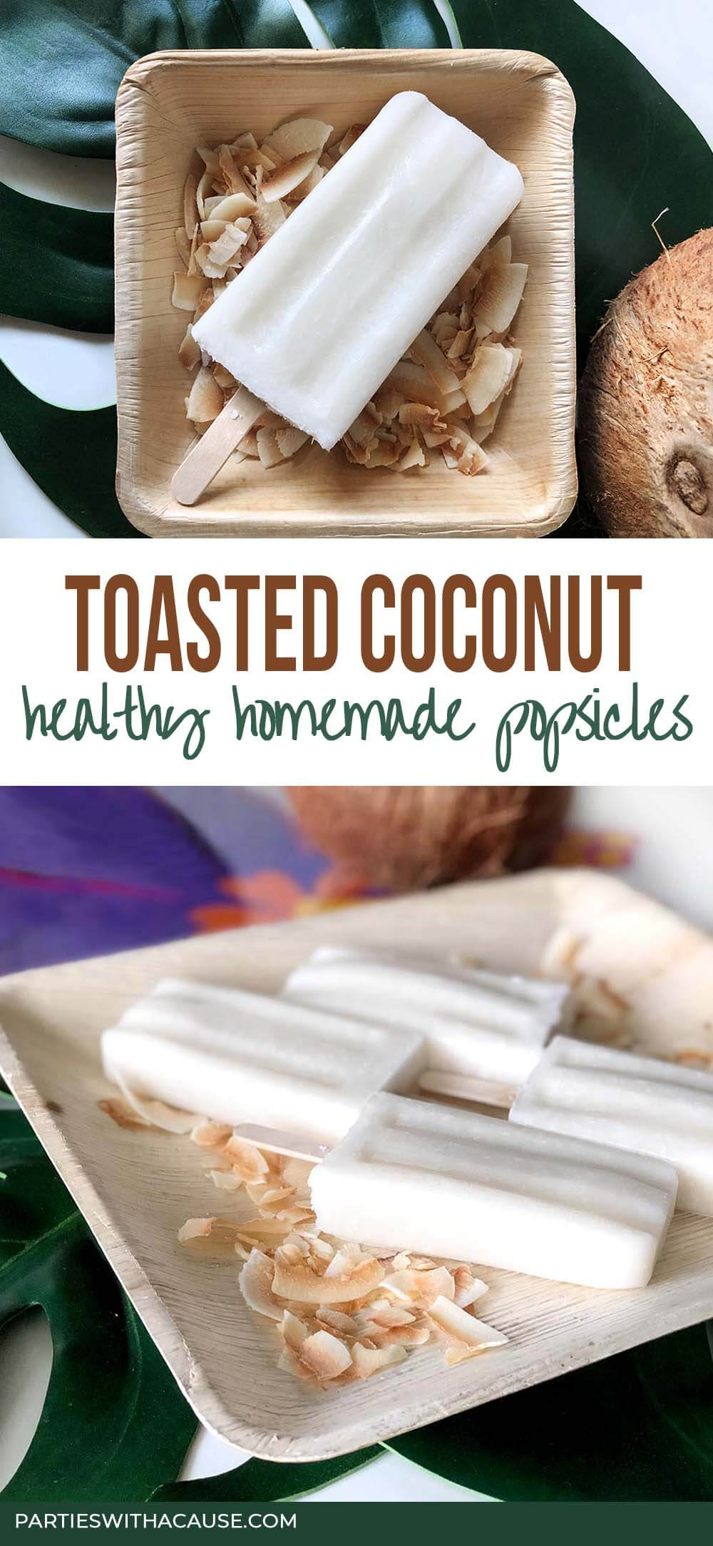 popsicles on plate with toasted coconut - how to make coconut popsicles