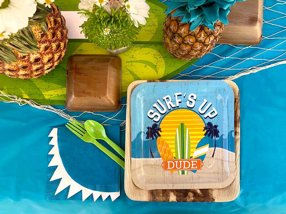 Surf themed party ideas like place settings from Salt Lake Party Stylist