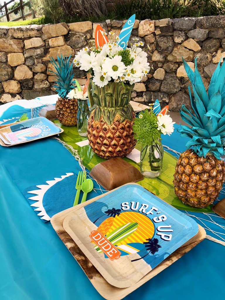 Party table set for surf themed party