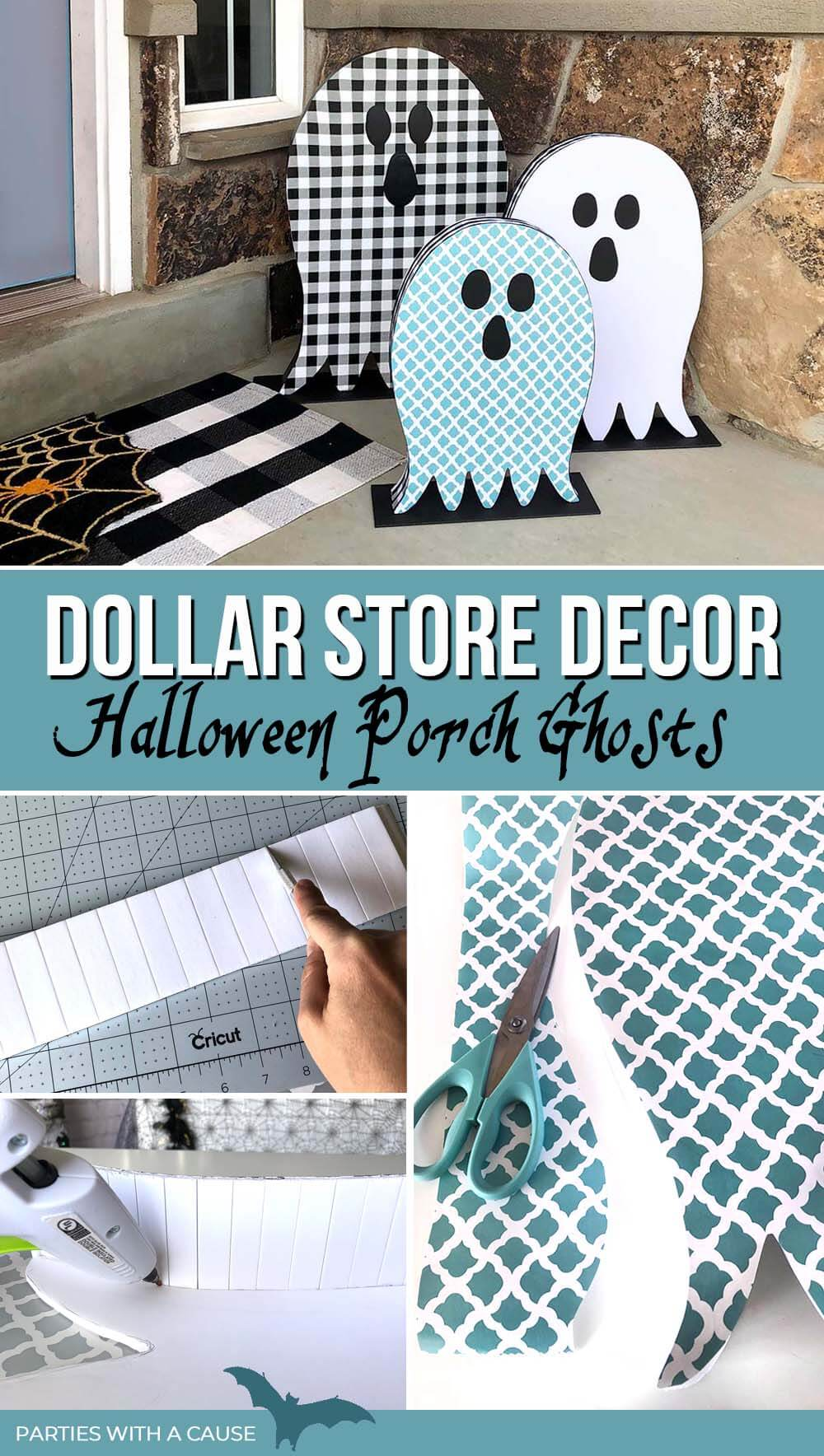 Dollar Store Decor Halloween Ghosts by Salt Lake Party Stylist