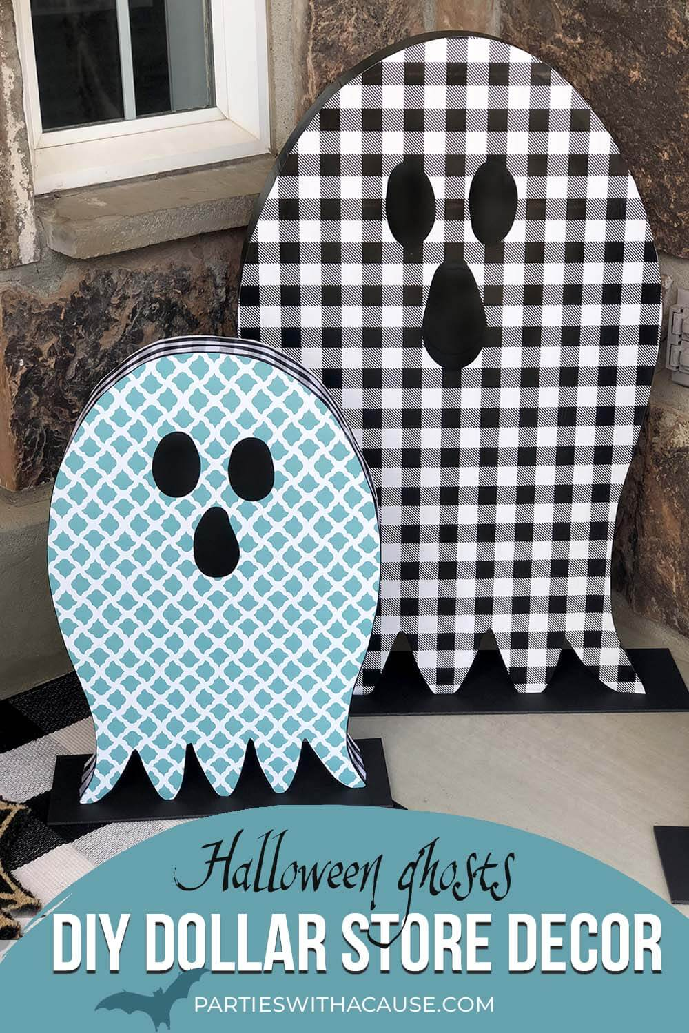 DIY Dollar Store Decor Halloween ghosts by Salt Lake Party Stylist