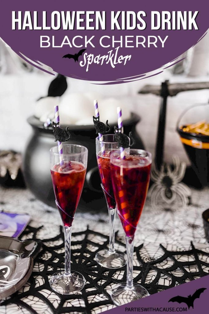 Halloween drink for kids Black Cherry Sparkler by Salt Lake Party Stylist