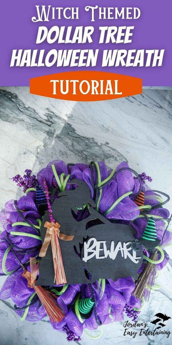 Witch themed Dollar Tree halloween wreath