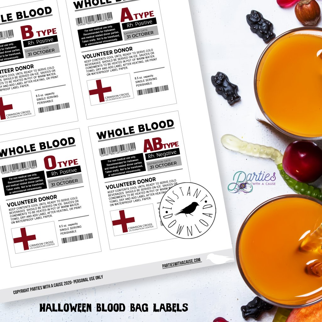 Printable blood bag labels for Halloween