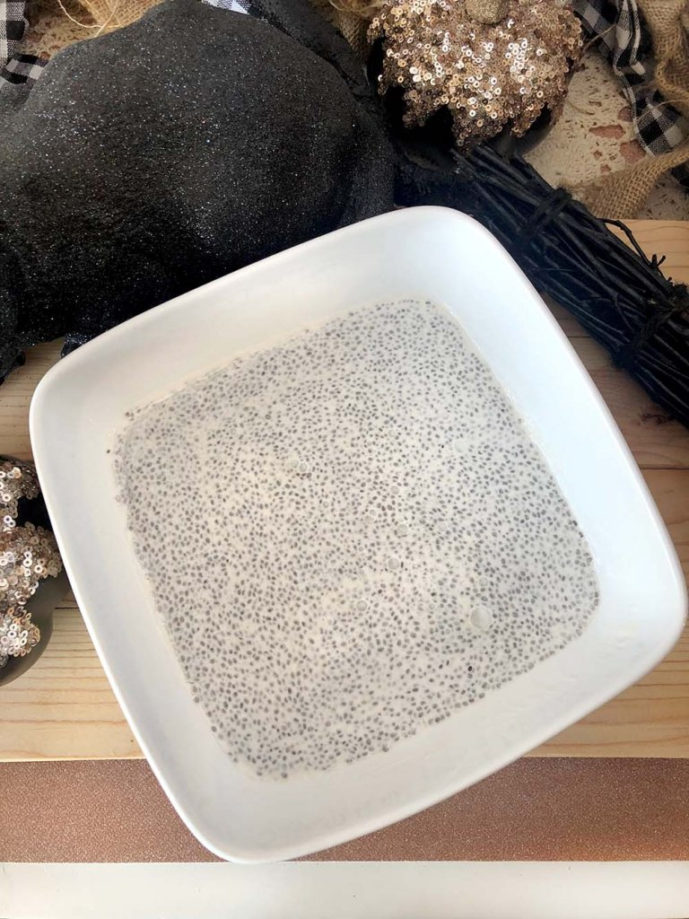 Large bowl of overnight coconut chia pudding