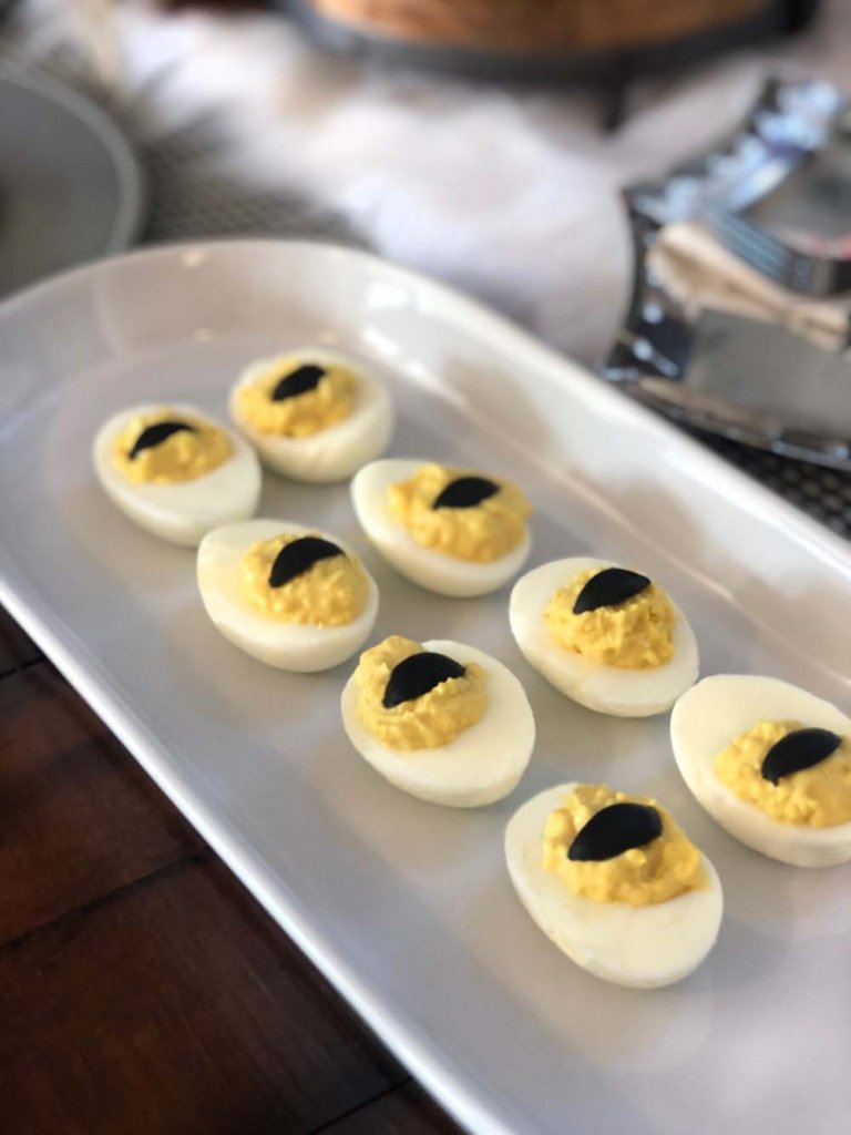 Dragon eye deviled eggs for a knight party