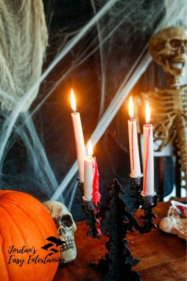 Bleeding candles in candelabra for Halloween