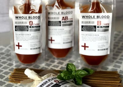 Blood Bags for Halloween Dinner Party