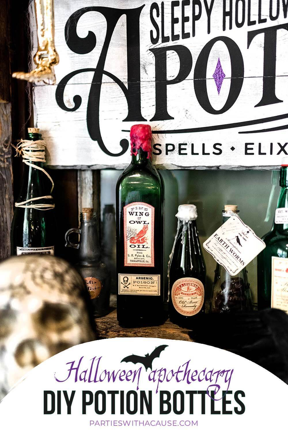 Potion bottles for Halloween apothecary by Salt Lake Party Stylist