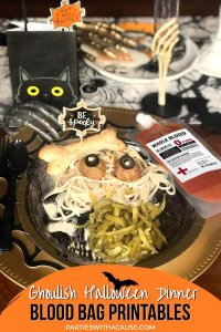 Halloween spaghetti dinner with blood bags by Salt Lake Party Stylist