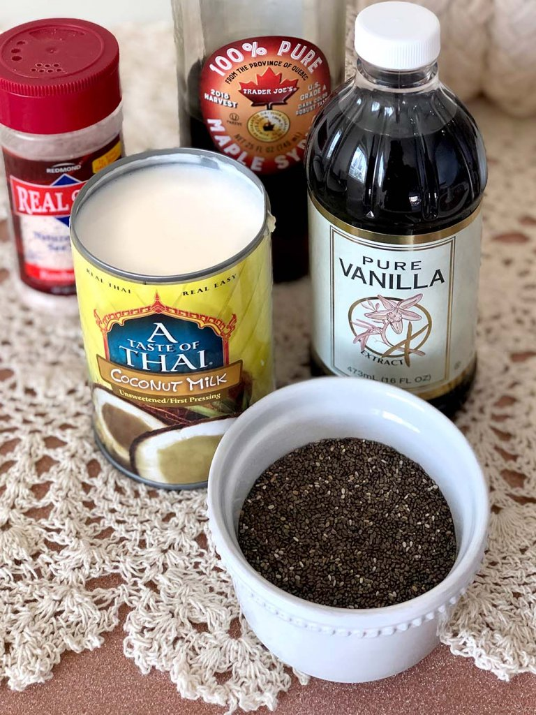 Coconut milk, chia seeds, vanilla, and syrup