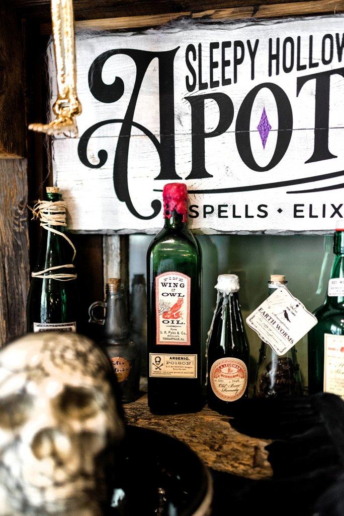 Halloween apothecary bottle display