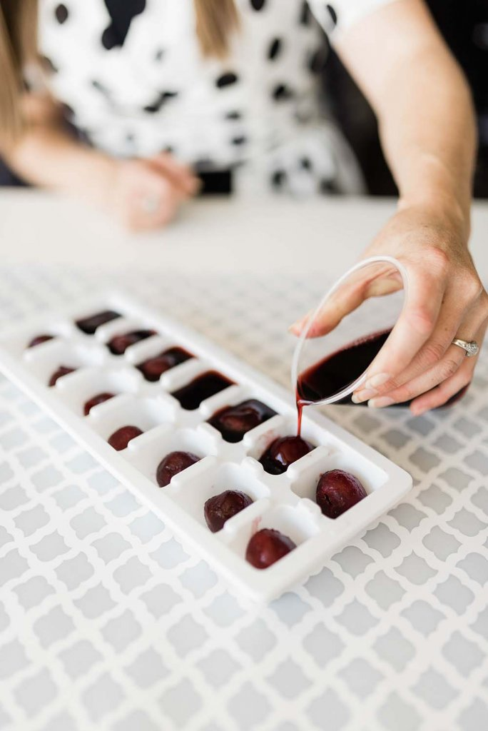 Making cherry ice cubes for Easy Halloween drinks