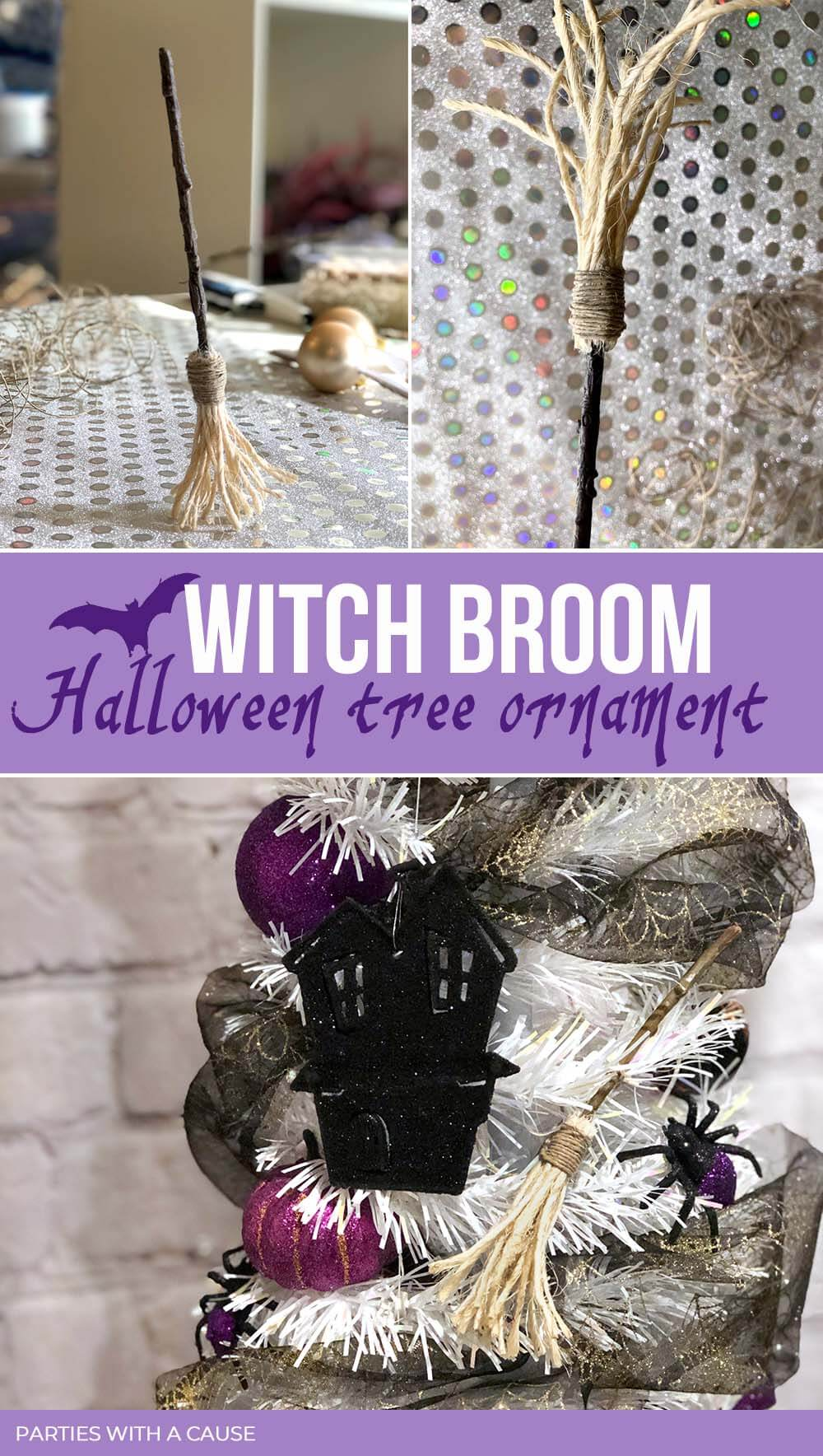 Witch broom Halloween tree ornament by Salt Lake Party Stylist