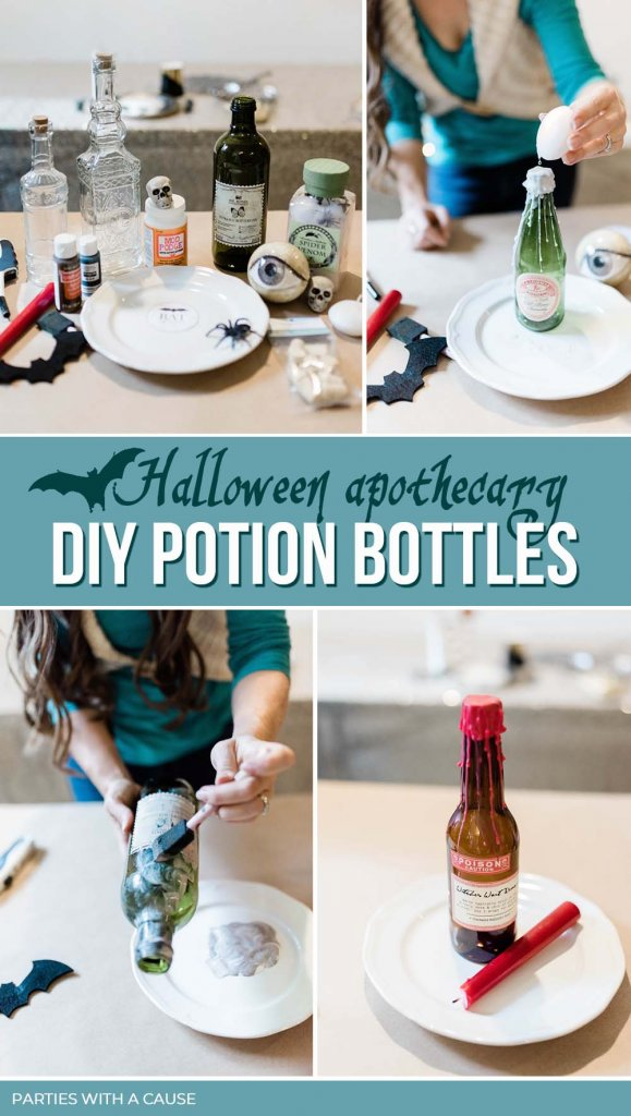 Halloween apothecary DIY Potion bottles by Salt Lake Party Stylist