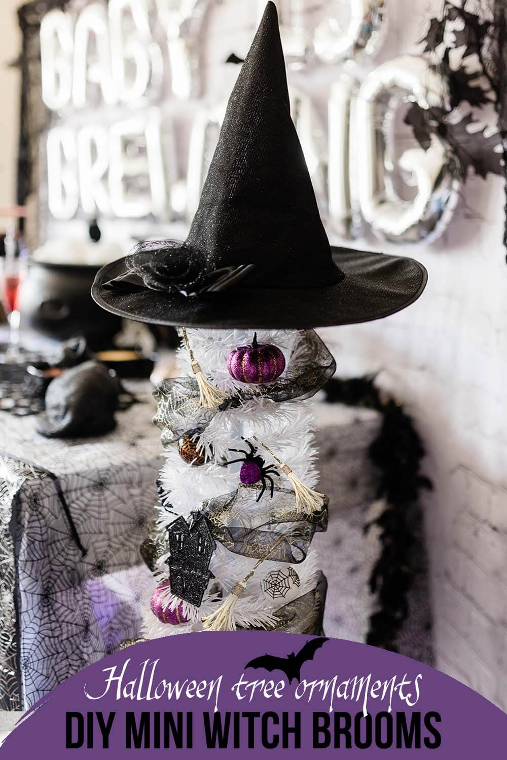 Halloween tree mini witch broom ornaments by Salt Lake Party Stylist