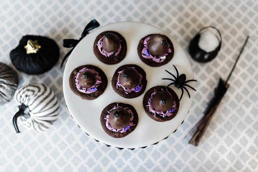 Tray of witch hat cookies with spider