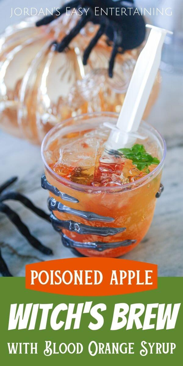 Poisoned apple witch's brew with blood orange syrup syringe
