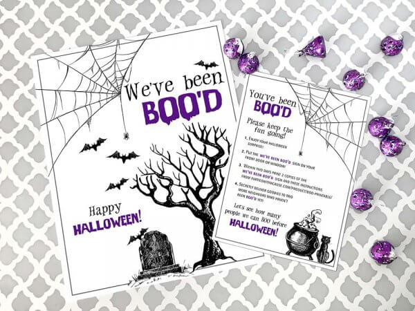 You've been BOO'd Boo Basket printable for Halloween boo game